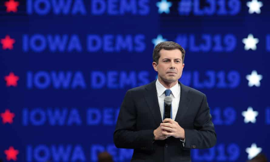 Democratic presidential candidate South Bend, Indiana, mayor Pete Buttigieg speaks in Des Moines, Iowa, on 1 November.