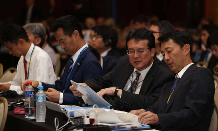 Members of the Japanese delegation at the meeting of the International Whaling Commission in Brazil.
