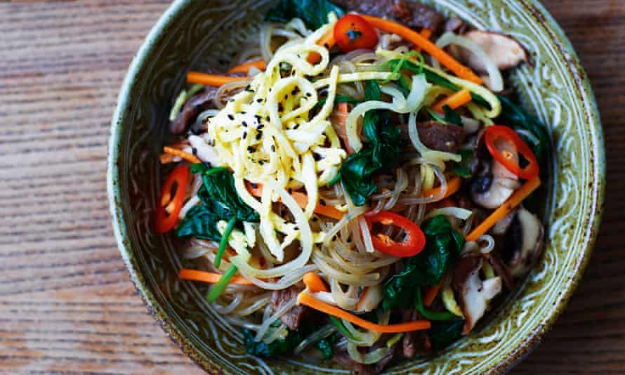 beef and vegetables with sesame glass noodles.