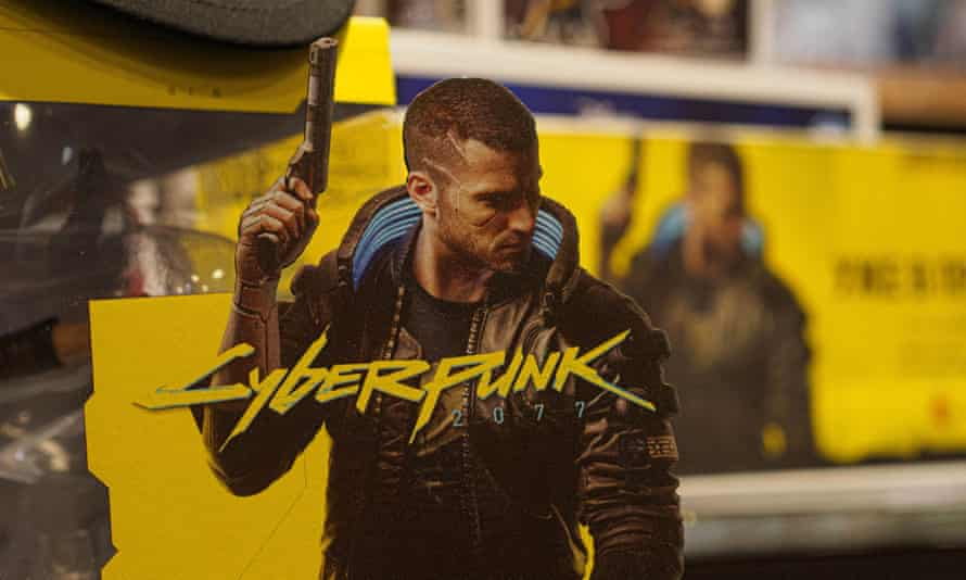 Promotional material for Cyberpunk 2077 in A Russian store.