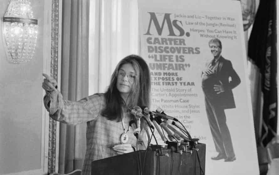 Gloria Steinem, pictured at a Ms. magazine news conference in 1977