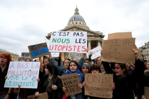 Young people take part in the worldwide climate strike in Paris, France
