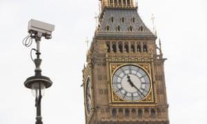A CCTV camera near Big Ben in London.