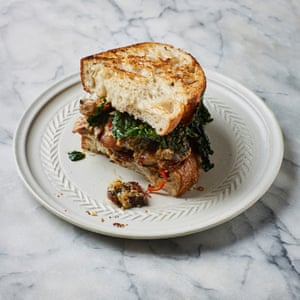 Dusty Knuckles' leftover sandwiches: sausage and greens.