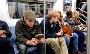 Passengers on a New York City subway train.