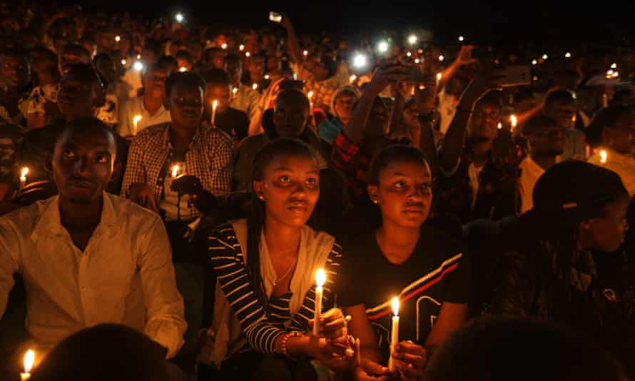 A candlelit vigil during a memorial service in 2019 to mark 25 years since the genocide, at Amahoro stadium in Kigali, Rwanda.