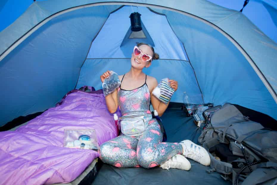 Isabelle Bascombe, 26, north London in her tent