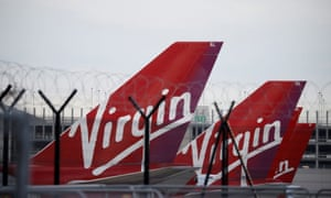 Virgin Atlantic's planes are seen parked at Manchester Airport.
