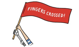 Digested read illustration – human and robot arms together hold a flag saying: Fingers Crossed!