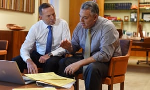 Tony Abbott and Joe Hockey with budget papers at Parliament House in Canberra last week.