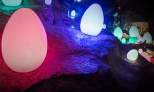 Glow-in-the-dark Easter eggs at Cheddar Gorge, Somerset.