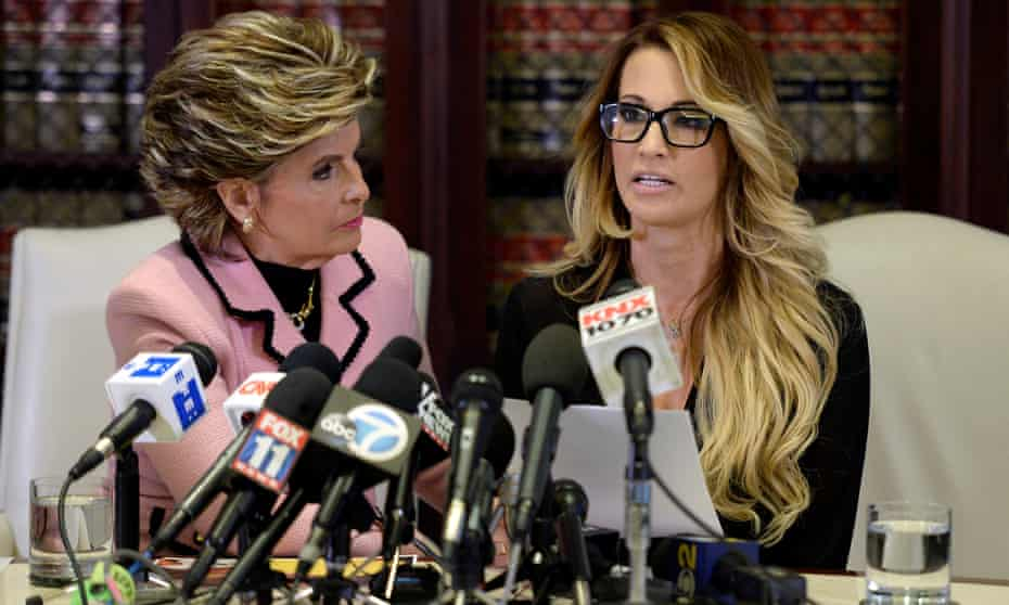 Jessica Drake speaks to reporters about allegations of sexual misconduct against Donald Trump, alongside lawyer Gloria Allred in Los Angeles on 22 October 2016.