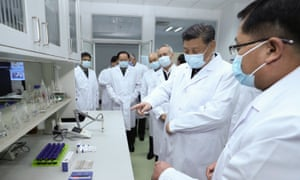 Chinese President Xi Jinping visits the Academy of Military Medical Sciences in Beijing.