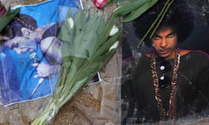 Flowers and photographs are left at a memorial to Prince