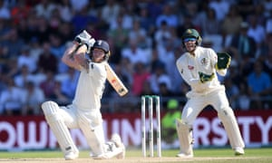 Ben Stokes bats for England, watched on by Tim Paine of Australia, at Headingley on 25 August 2019.