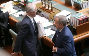 The PM and opposition leader cross paths during a division over Barnaby Joyce