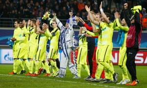 Gent celebrate their unexpected progress from Group H, secured by the Belgian side's win at home to Zenit St Petersburg.