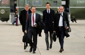 Senior adviser Steve Bannon, White House chief of staff Reince Priebus, Jared Kushner and Stephen Miller arrive to board Air Force One with U.S. President Donald Trump to travel to Michigan from Joint Base Andrews, Maryland. REUTERS/Jonathan Ernst