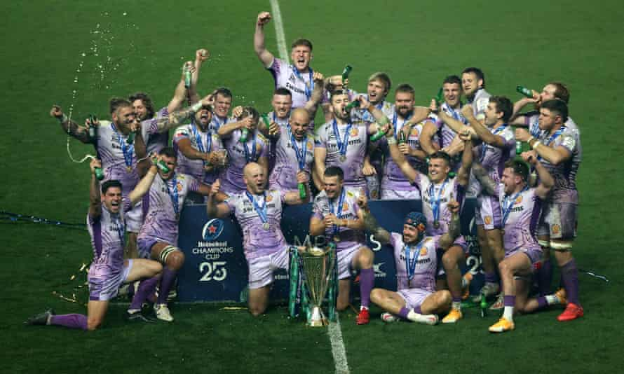 Exeter celebrate after their Champions Cup triumph against Racing 92 on Saturday