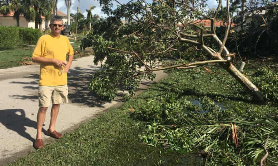Chris Roche surveying his property damage on Marco Island.