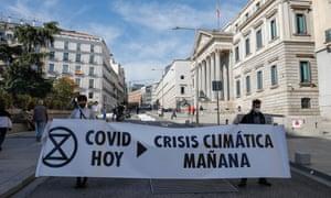 An Extinction Rebellion demonstration in Madrid, Spain.