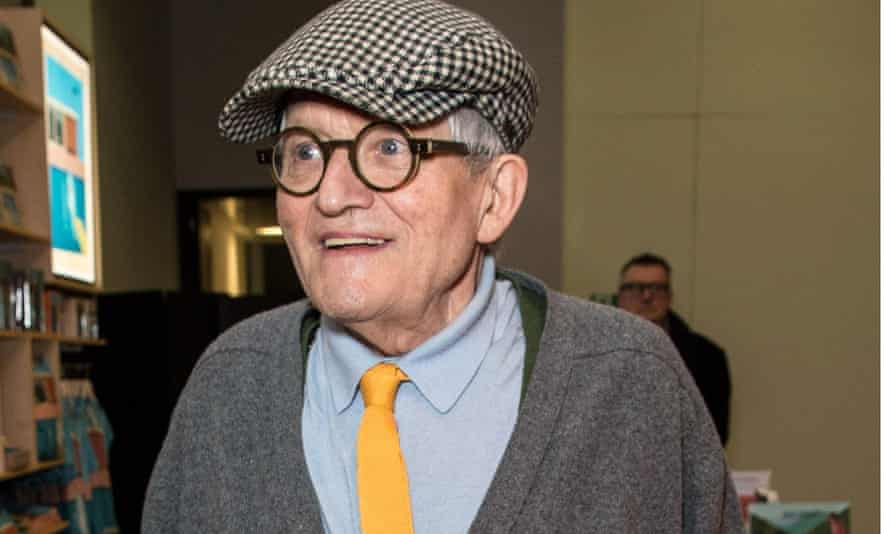 David Hockney at the opening of the retrospective of his work