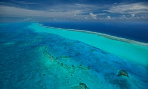 The reefs at the Blue Hole Natural Monument on Lighthouse Reef, the second largest barrier reef in the world.