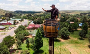 Vernon Kruger on his pole overlooking the South African town of Dullstroom