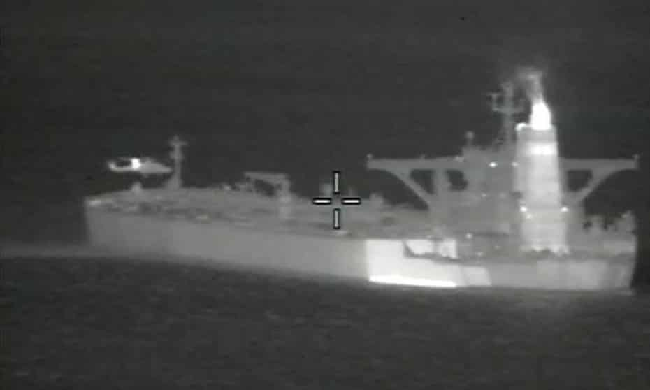 An image issued by the Ministry of Defence of the supertanker Grace 1, seized in Gibraltar