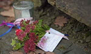 Flowers left close to the scene in Llangammarch Wells, Powys.