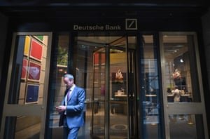 A man is seen leaving the US headquarters of Deutsche Bank on July 8, 2019 in New York City.