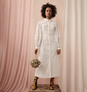 'Oprah is so influential and wise': Gugu wears a white dress by Mother of Pearl and boots by Dries van Noten.