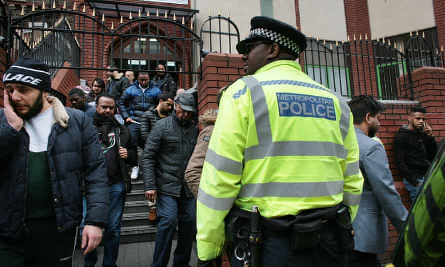 Worshippers leave the Finsbury Park mosque in north London