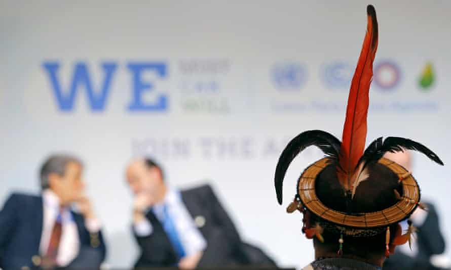 A representative of indigenous Peruvian people at the Paris climate talks.