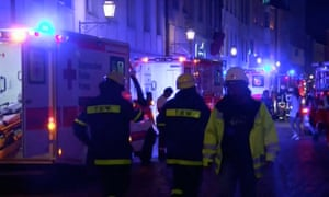 Emergency workers and vehicles in Ansbach town centre after the explosion
