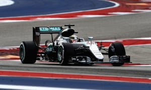 Lewis Hamilton in his Mercedes on the way to victory in Sunday's US Grand Prix, ahead of his title rival and team-mate Nico Rosberg.