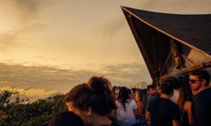 Warung's terrace at sunrise.
