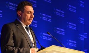 Nizar Zakka speaks at a conference in Jordan in 2013.