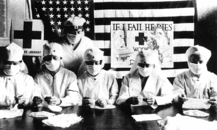 Red Cross volunteers fighting the Spanish flu pandemic in the US in 1918