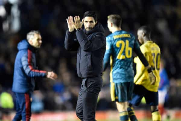 Mikel Arteta after Arsenal's FA Cup win at Portsmouth on 2 March, a week before the Arsenal manager first felt unwell