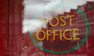 A Post Office sign in central London.