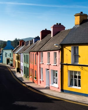"""Ireland, Europe.""Colored houses in the village of Eyeries."