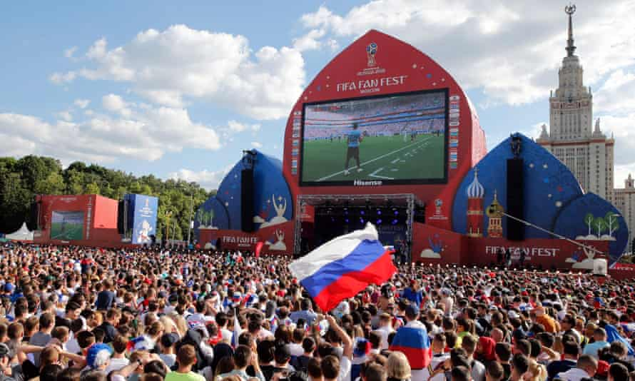 Russia fans gathered in their thousands in Moscow on Monday, but watched their side slip to a 3-0 defeat to the Group A winners, Uruguay.