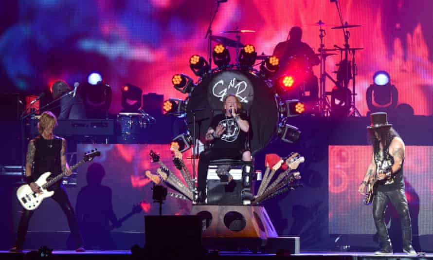 Duff McKagan, Axl Rose and Slash of Guns N' Roses perform onstage during day 2 of the 2016 Coachella Valley Music & Arts Festival Weekend 1 at the Empire Polo Club on April 16, 2016 in Indio, California.