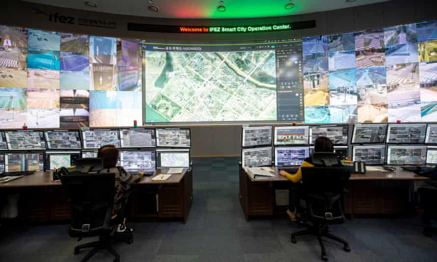 A god's-eye view of the city? A smart city control room in Seoul, Korea.
