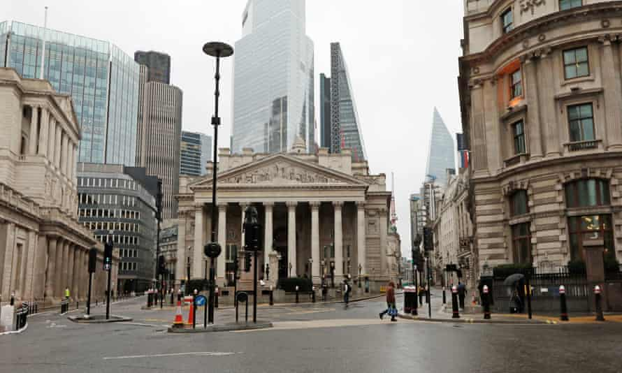 The City of London, the UK's financial hub. The shares rally was underpinned by a sharp rise in oil prices.