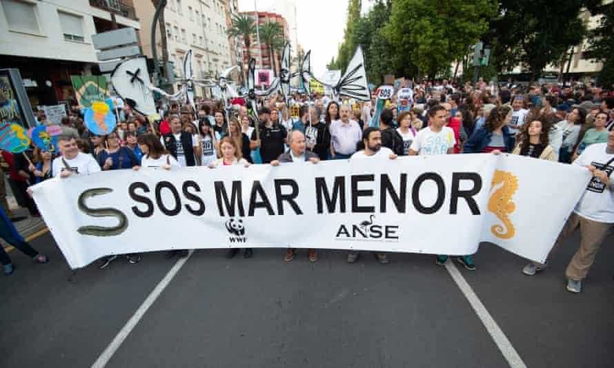 A demonstration in support of Mar Menor in Cartagena, Murcia, in October 2019.