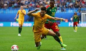 Australia's Mathew Leckie and Cameroon's Karl Toko Ekambi
