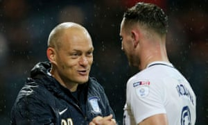 Preston North End's manager Alex Neil congratulates Alan Browne, who scored from the centre circle in the 3-0 win over high-flying Cardiff City.