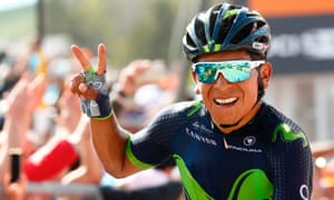 Nairo Quintana celebrates at the top of Blockhaus after winning stage nine and claiming the pink jersey.